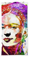 Frida Kahlo Grunge Hand Towel by Daniel Janda