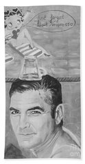 Hand Towel featuring the painting George Clooney by Jeepee Aero