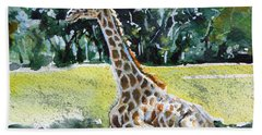 Hand Towel featuring the painting Giraffe by Kovacs Anna Brigitta