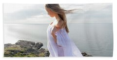 Girl In A White Dress By The Sea Hand Towel