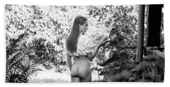 Girl In Swedish Garden Hand Towel