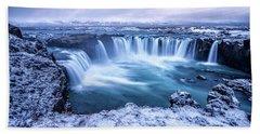 Godafoss Waterfall In Iceland Hand Towel by Joe Belanger