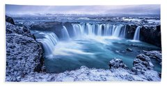 Godafoss Waterfall In Iceland Bath Towel by Joe Belanger