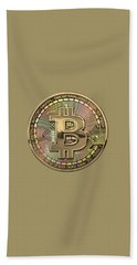 Gold Bitcoin Effigy Over Black Canvas Hand Towel