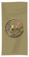 Gold Bitcoin Effigy Over White Leather Bath Towel