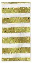 Gold Hearts Stripes Bath Towel