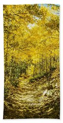 Golden Aspens In Colorado Mountains Hand Towel