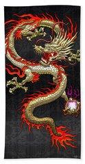 Golden Chinese Dragon Fucanglong  Bath Towel