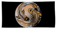 Golden Yin And Yang Bath Towel