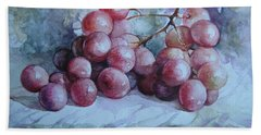 Hand Towel featuring the painting Grapes... by Elena Oleniuc