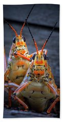 Grasshoppers In Love Hand Towel by Mark Andrew Thomas