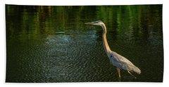 Great Blue Heron Delray Beach Florida Hand Towel