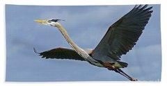 Great Blue Heron Flight 2 Hand Towel