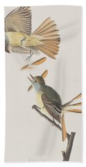 Great Crested Flycatcher Hand Towel by John James Audubon