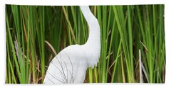 Great Egret Hand Towel by Ricky L Jones