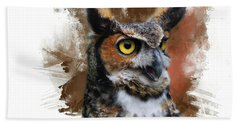 Great Horned Owl Two Bath Towel by Suzanne Handel