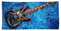 Bath Towel featuring the digital art Guitar Love by Ian Mitchell