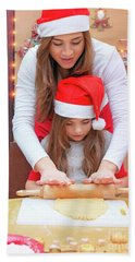 Happy Family Making Christmas Cookies Hand Towel