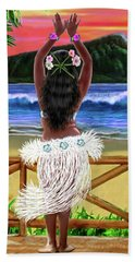 Hawaiian Sunset Hula Bath Towel by Glenn Holbrook