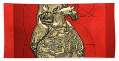 Heart Of Gold - Golden Human Heart On Red Canvas Bath Towel by Serge Averbukh