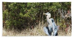 Bath Towel featuring the photograph Henry The Heron by Benanne Stiens