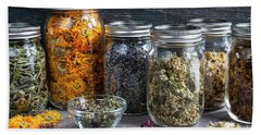 Bath Towel featuring the photograph Herbs In Jars by Elena Elisseeva