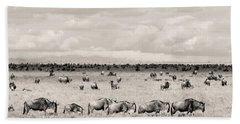 Herd Of Wildebeestes Hand Towel