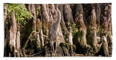 Hand Towel featuring the photograph Heron And Cypress Knees by Steven Sparks