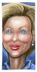 Hillary Clinton Caricature Hand Towel by Kevin Middleton
