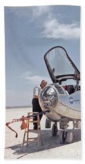 Hl-10 On Lakebed With B-52 Flyby Panel 1 Bath Towel by Celestial Images