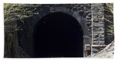 Hoosiac Train Tunnel Hand Towel by Catherine Gagne
