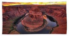 Horseshoe Bend Fiery Sunset Bath Towel