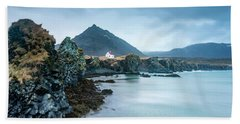 House On Ocean Cliff In Iceland Bath Towel by Joe Belanger