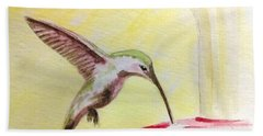 Bath Towel featuring the painting Hummingbird by Stacy C Bottoms