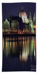 Hungarian Parliament By Night Bath Towel