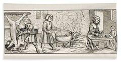Interior Of A 16th Century Kitchen Hand Towel