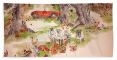 Bath Towel featuring the painting Italy Love Life And  Linguini Album by Debbi Saccomanno Chan