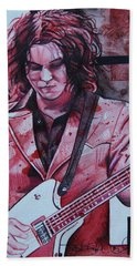 Bath Towel featuring the drawing Jack White by Joshua Morton