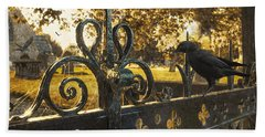 Jackdaw On Church Gates Bath Towel