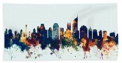 Jakarta Skyline Indonesia Bombay Bath Towel by Michael Tompsett