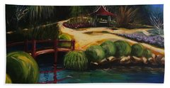 Bath Towel featuring the painting Japanese Gardens - Original Sold by Therese Alcorn