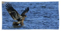Juvenile Eagle Fishing Bath Towel by Coby Cooper