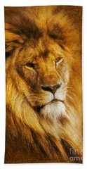 Hand Towel featuring the digital art King Of The Beasts by Ian Mitchell