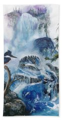 Bath Towel featuring the painting Kingfisher's Realm by Sherry Shipley