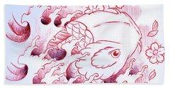 Koi Carp Tattoo Art Hand Towel