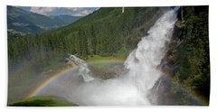 Krimml Waterfall And Rainbow Bath Towel