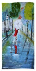 Lady In Red Original Version Hand Towel by Dick Bourgault