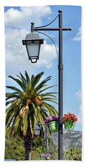 Lampost With Flowers In Nafplio Town Bath Towel