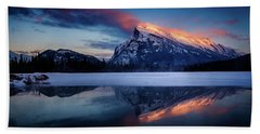 Last Light On Mount Rundle Bath Towel
