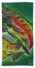 Leaping Trout Bath Towel by Scott D Van Osdol